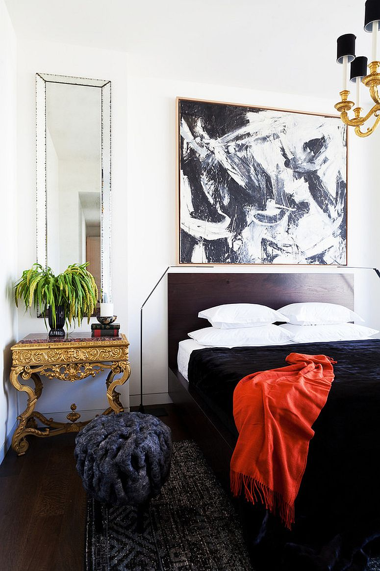 Ornate gold bedside table brings a hint of oriental charm to the contemporary bedroom [Design: Caleb Anderson Design]