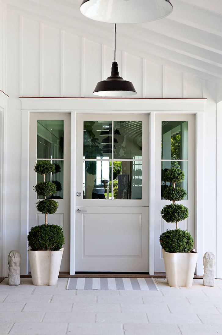Pair of topiaries provide a welcoming entrance