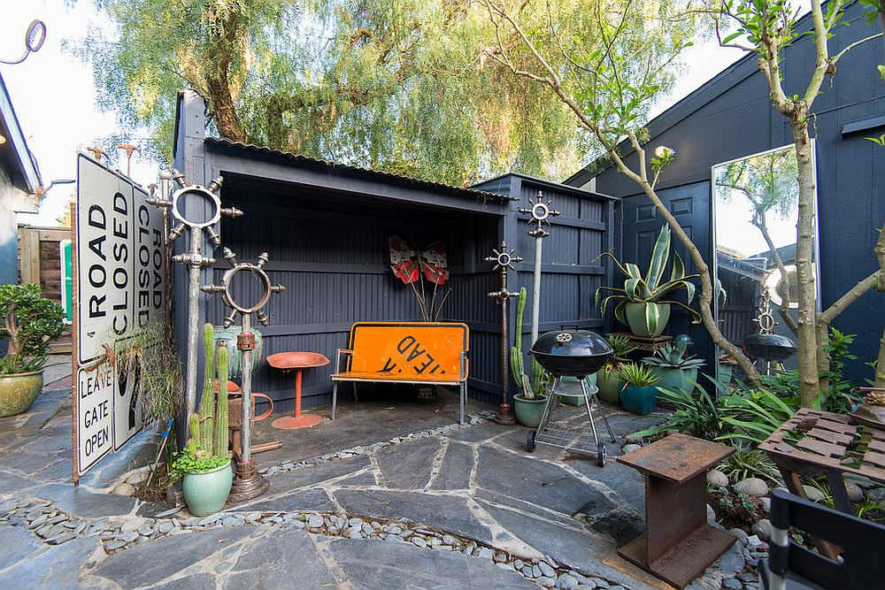 Patio with garage or shed is the perfect place to use the road sign [From: Calista Chandler Photography]