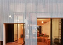 Perforated metal frame of the extension filters out harsh sunlight