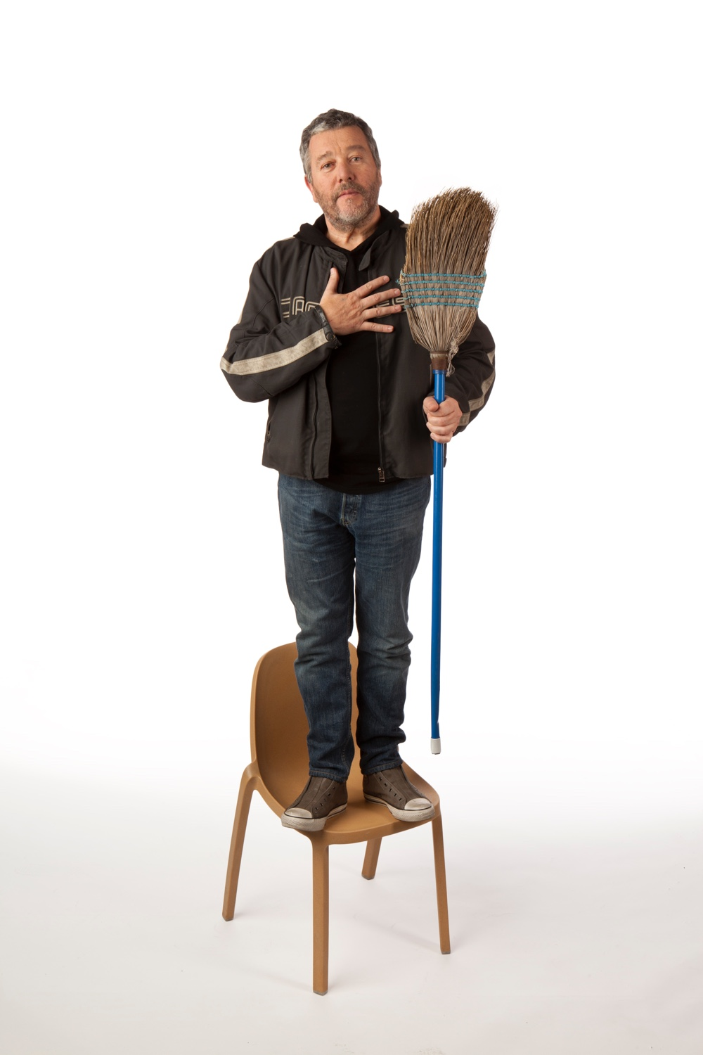 Philippe Starck and the Broom chair. Image courtesy of Emeco.