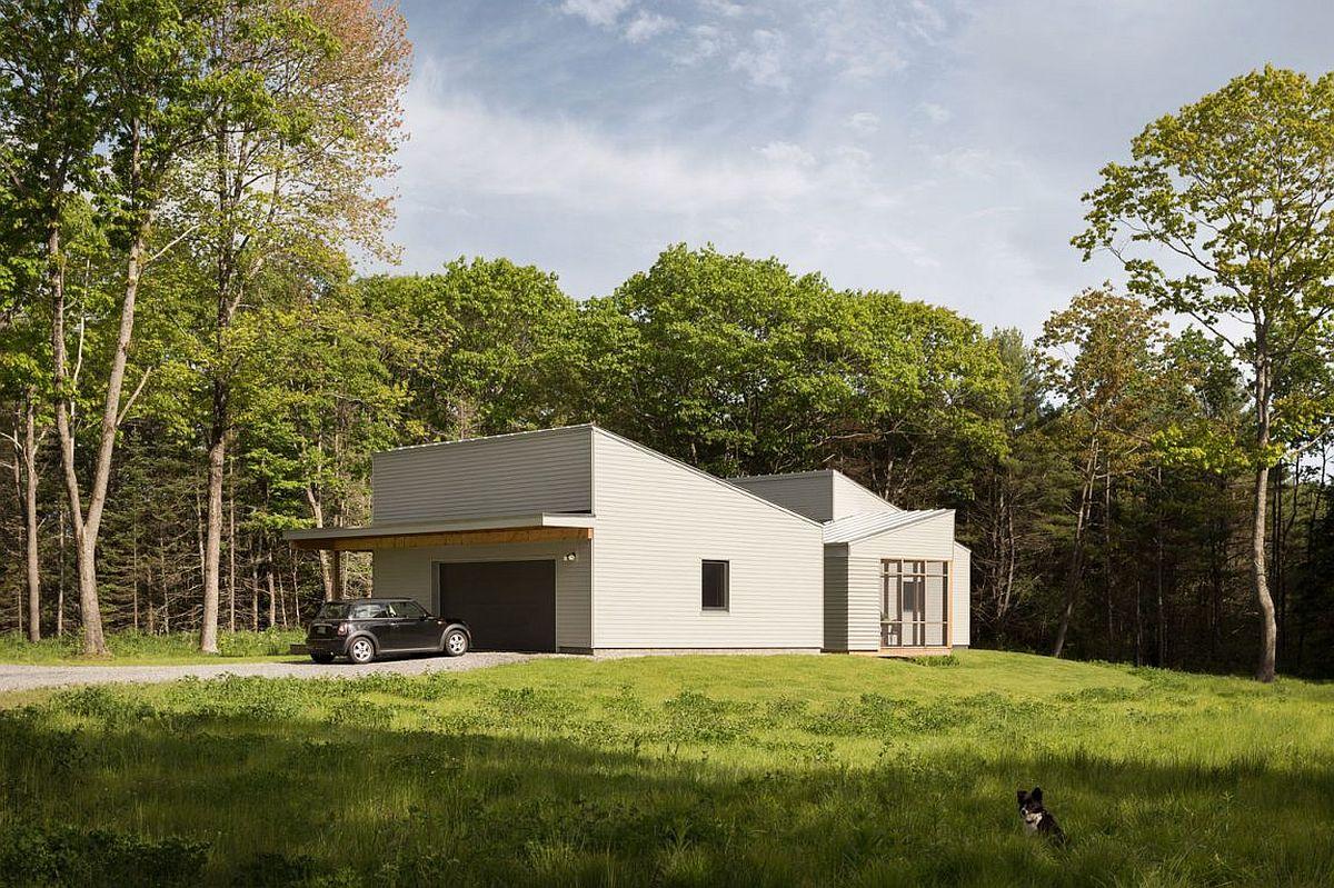 Pine forest with tall trees surrounds the Southern Maine home