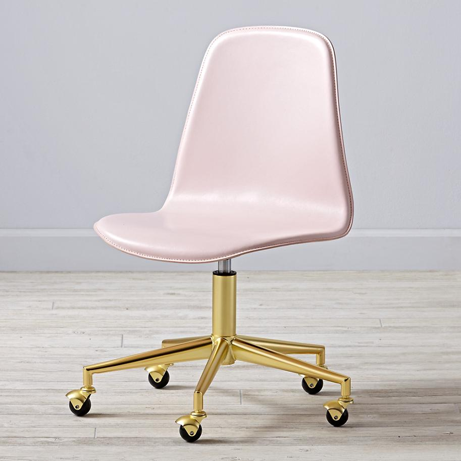Pink and brass desk chair from The Land of Nod
