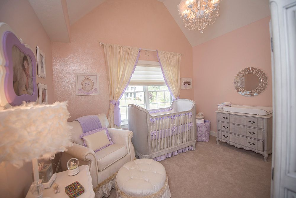 Pink and lavender rolled into one in the fashionable nursery [Design: Jack and Jill Interiors]