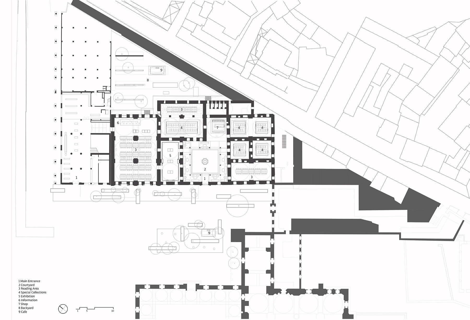 Plan of the Beyazit State Library after the renovation