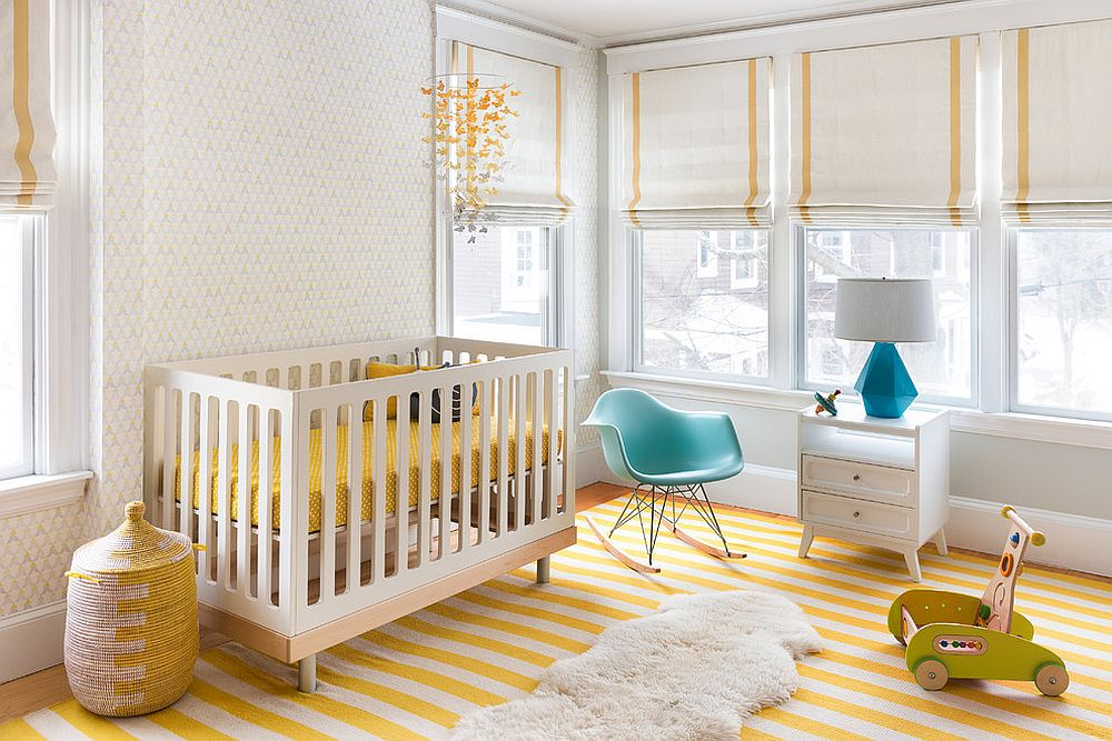 Plastic Molded Rocking Chair and table lamp add blue to the white and yellow nursery [Design: MANDARINA STUDIO interior design]