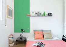Playful way of adding color to the neutral, contemporary bedroom