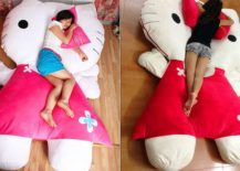 Plush Hello Kitty shaped bed is a showstopper