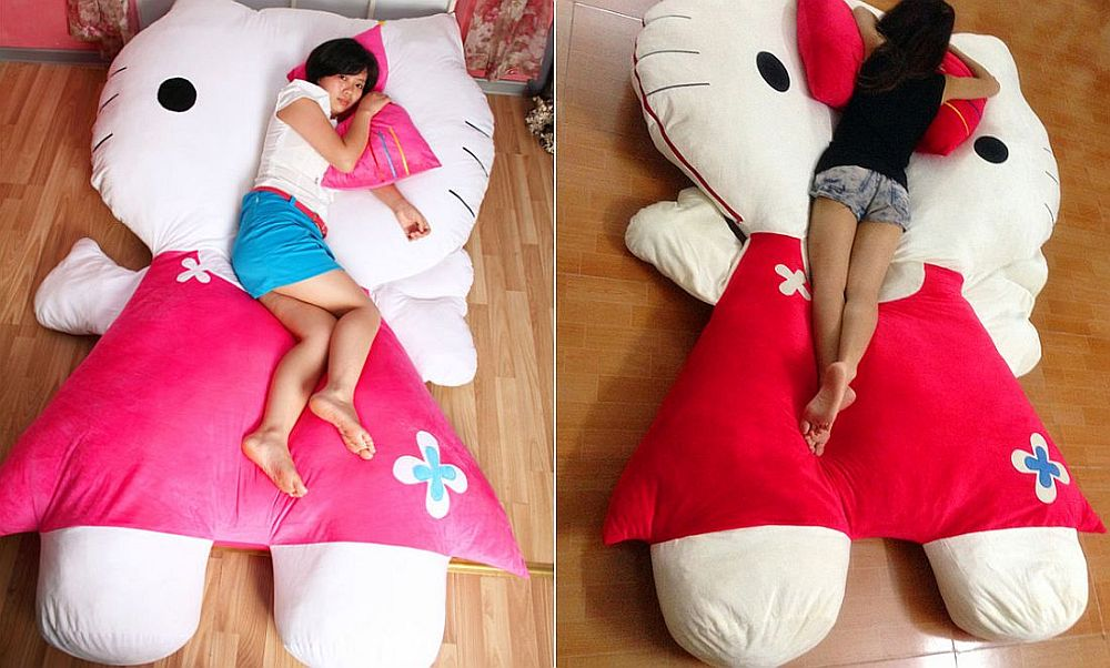 Plush Hello Kitty shaped bed is a showstopper [From: aliexpress]