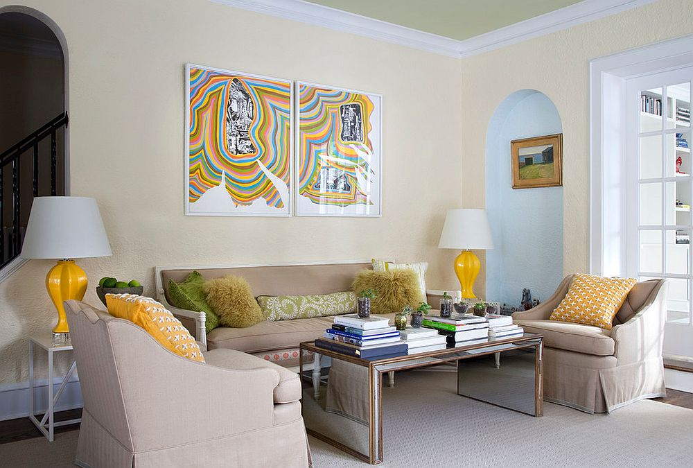 Pops of yellow energize the modern living room