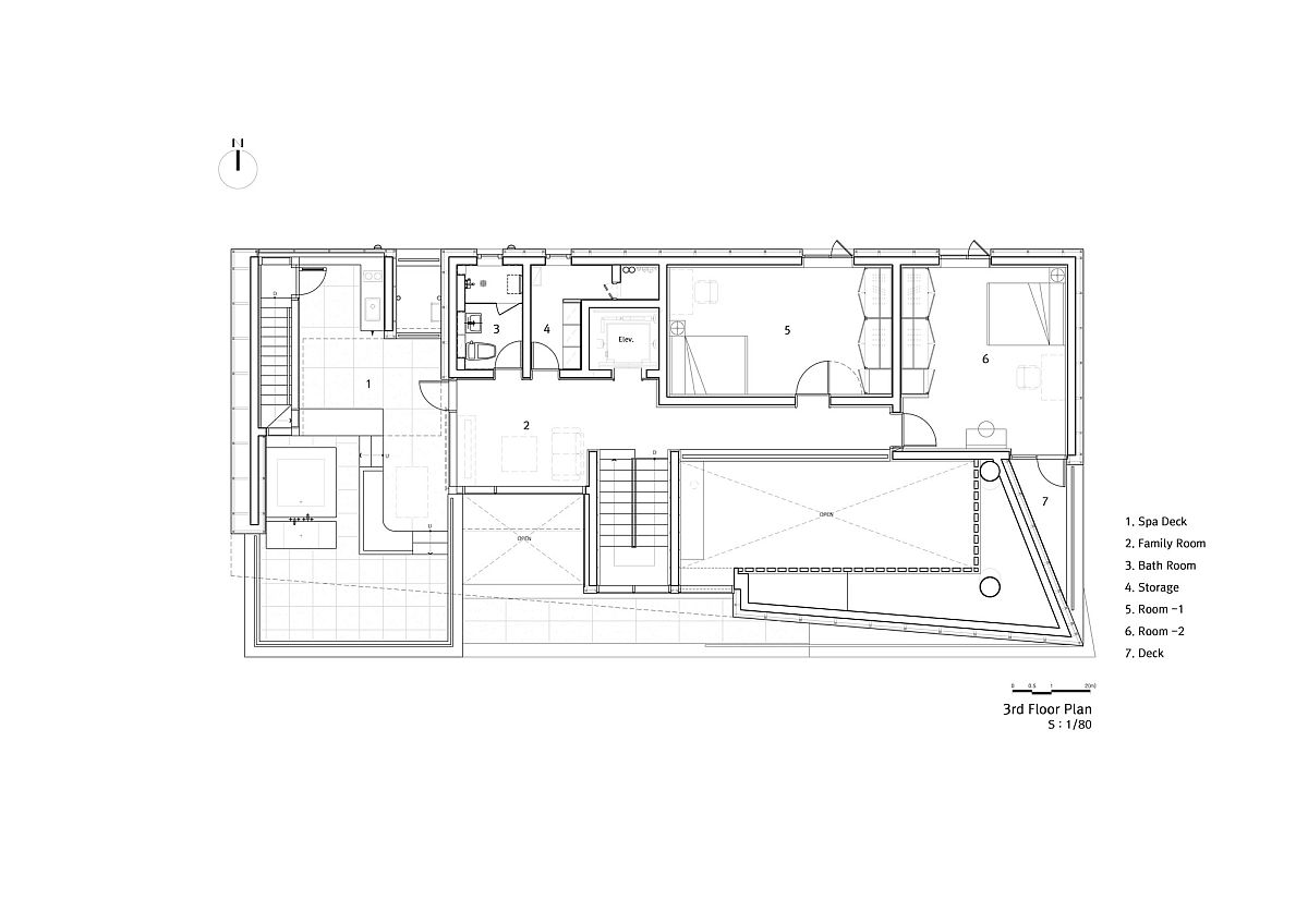 Private, third level floor plan of the house