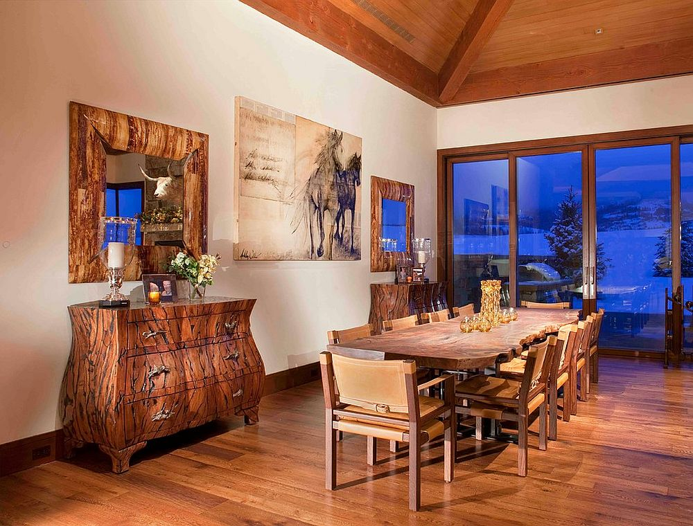 Raw wooden and live edge decor gives the contemporary dining space a traditional vibe [From: Charles Cunniffe Architects / James Ray Spahn]