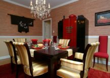 Red and black dining room with Asian style