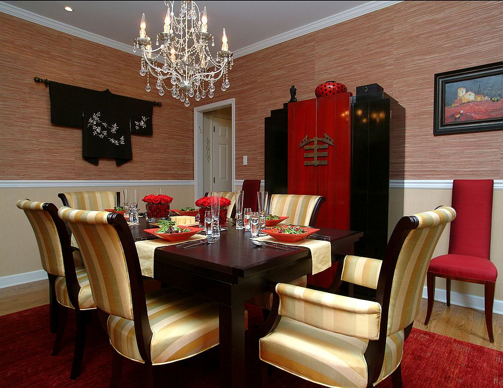 Red and black dining room with Asian style [Design: Larisa McShane]
