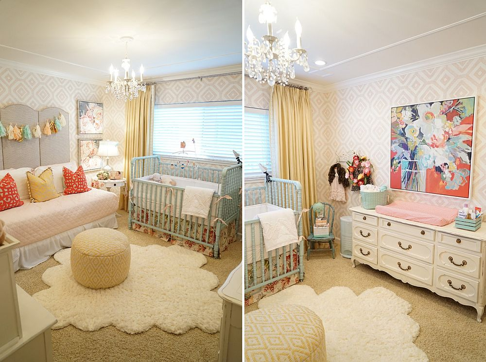 Relaxed shabby chic style nursery draped in pastel hues