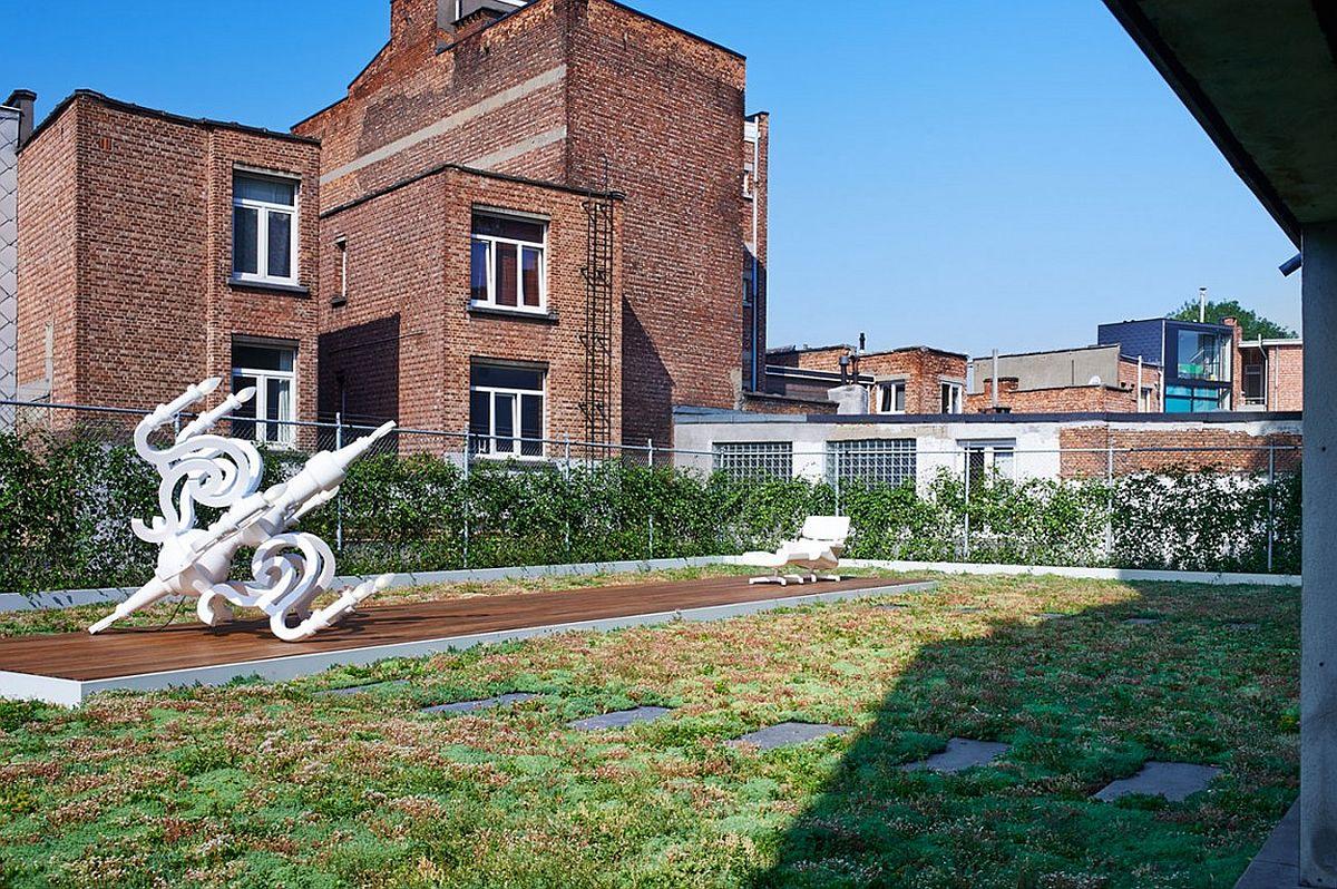 Roof garden of the revamped loft in Antwerp, Belgium