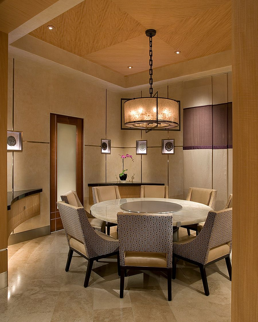 Round dining table for the Asian style dining room [Design: IMI Design / Photography: Dino Tonn]
