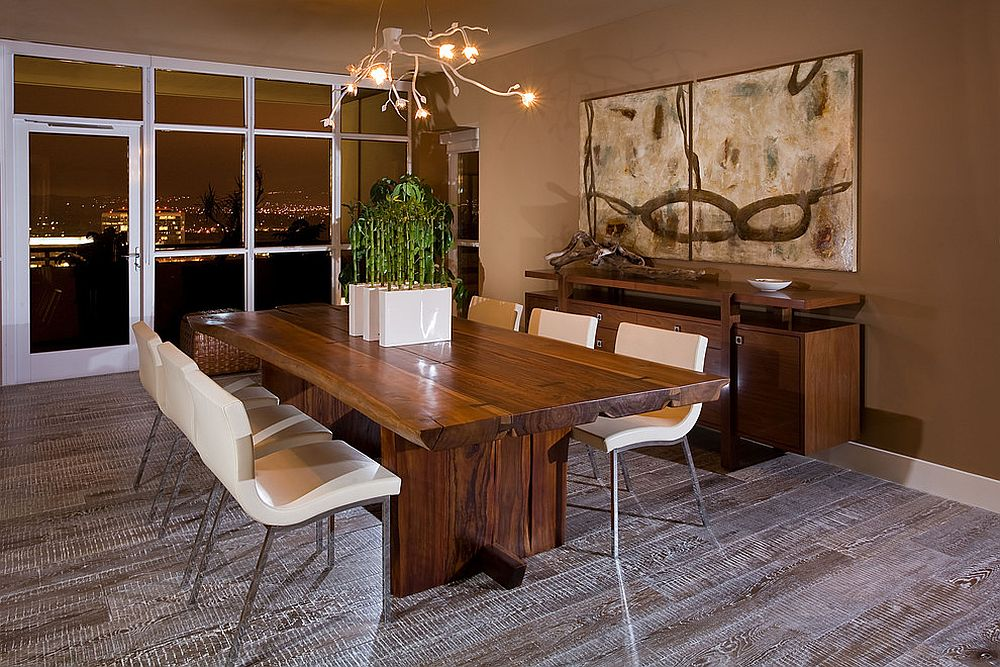Rustic modern dining room with fabulous view of city skyline and a live edge table [Design: Gary Finley]