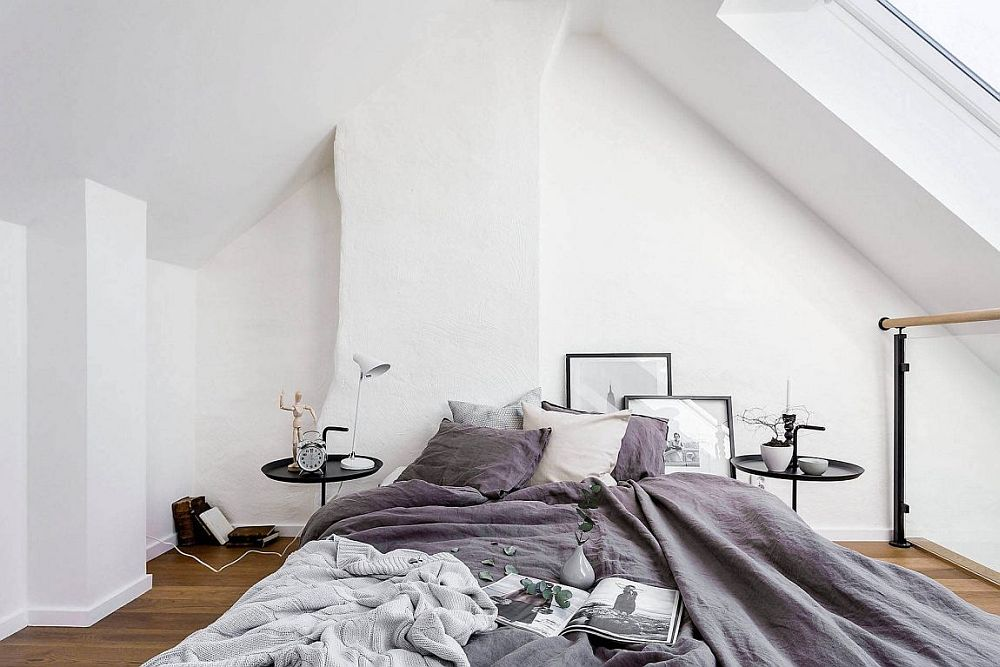 Scandinavian style bedroom in white and gray