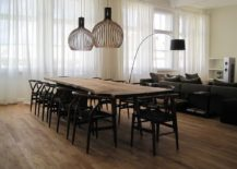 Scandinavian style dining room with a live edge table