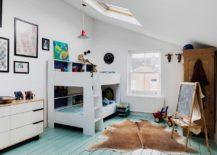 Scandinavian style kids' bedroom with corner bunk bed