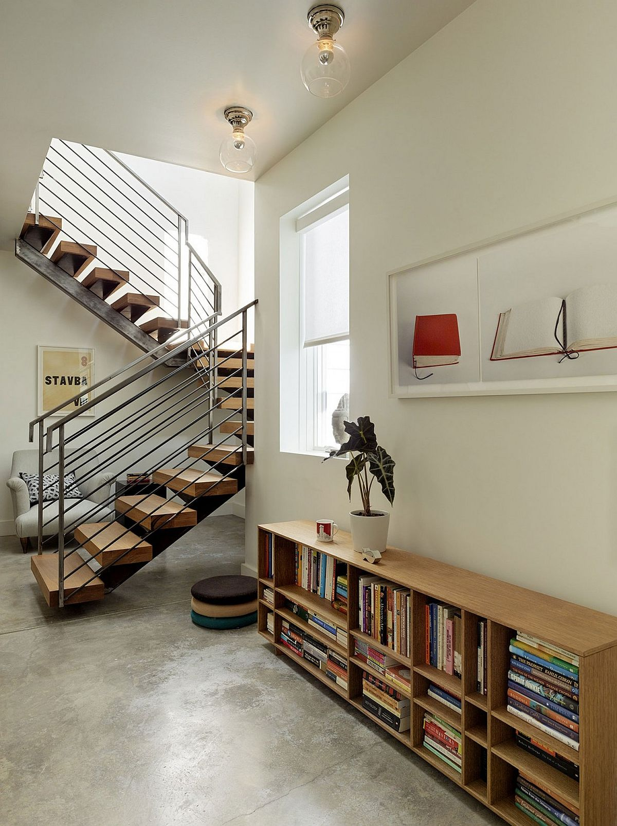 Sculptural metal and wood staircase design