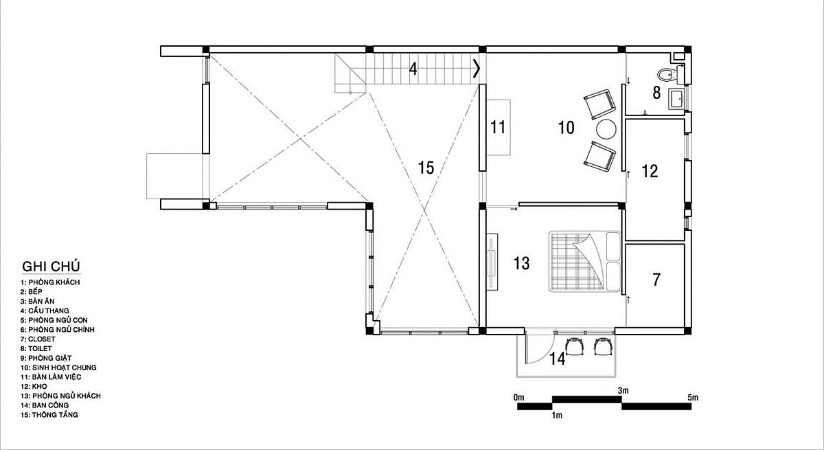 Second level floor plan of the revamped home in Dak Lak Province