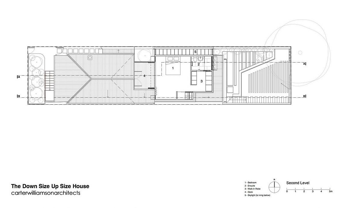Second level floor plan with deck and master suite