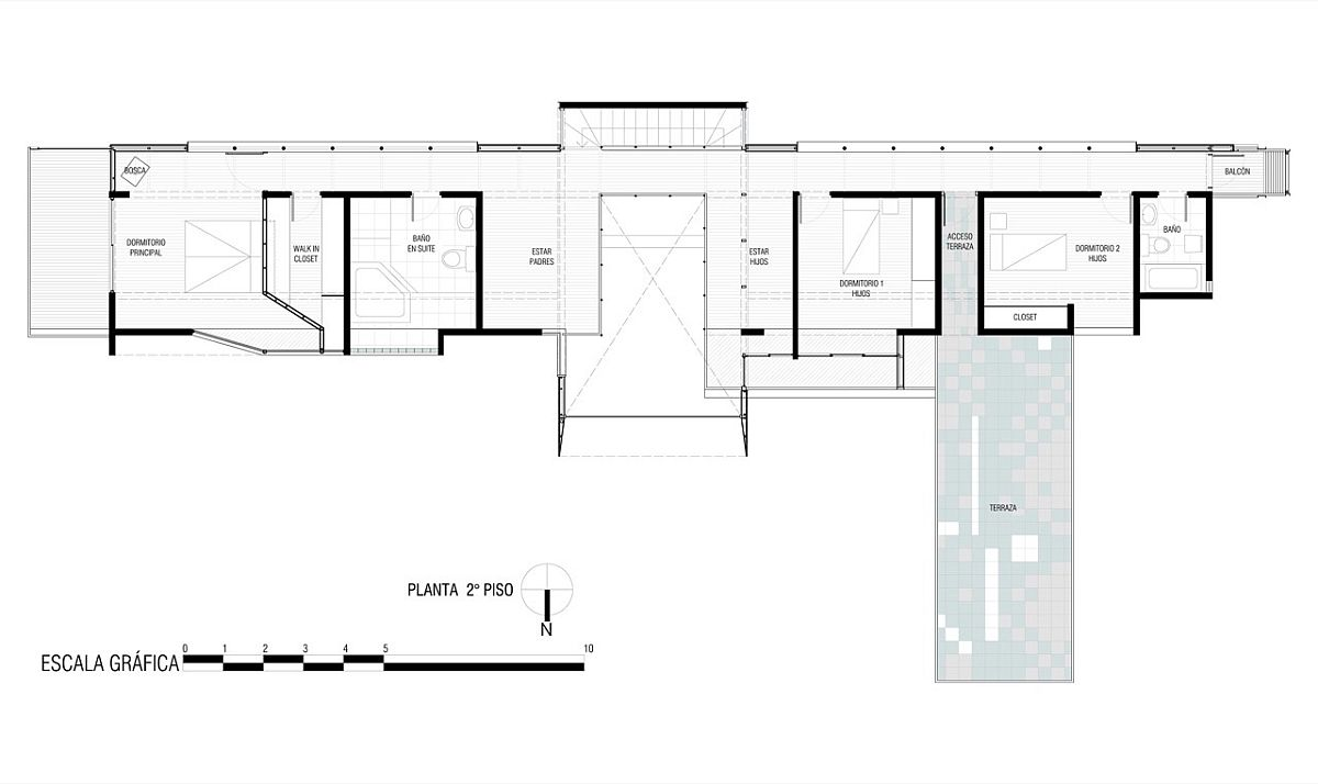 Second level floor plan with separate wings for the kids and adults