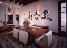 Serene dining room with modern Asian style