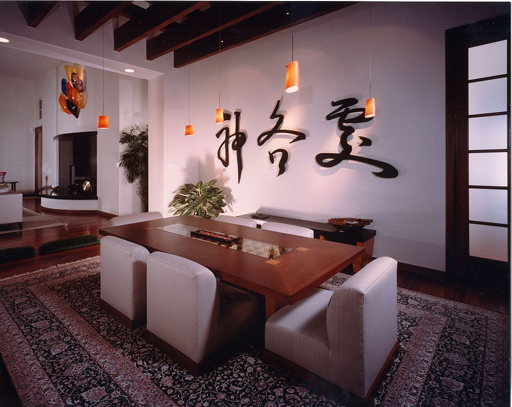 Serene dining room with modern Asian style [Design: TKP Architects]