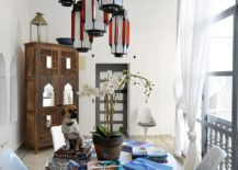 Shabby chic coupled with Moroccan touches in the informal dining room
