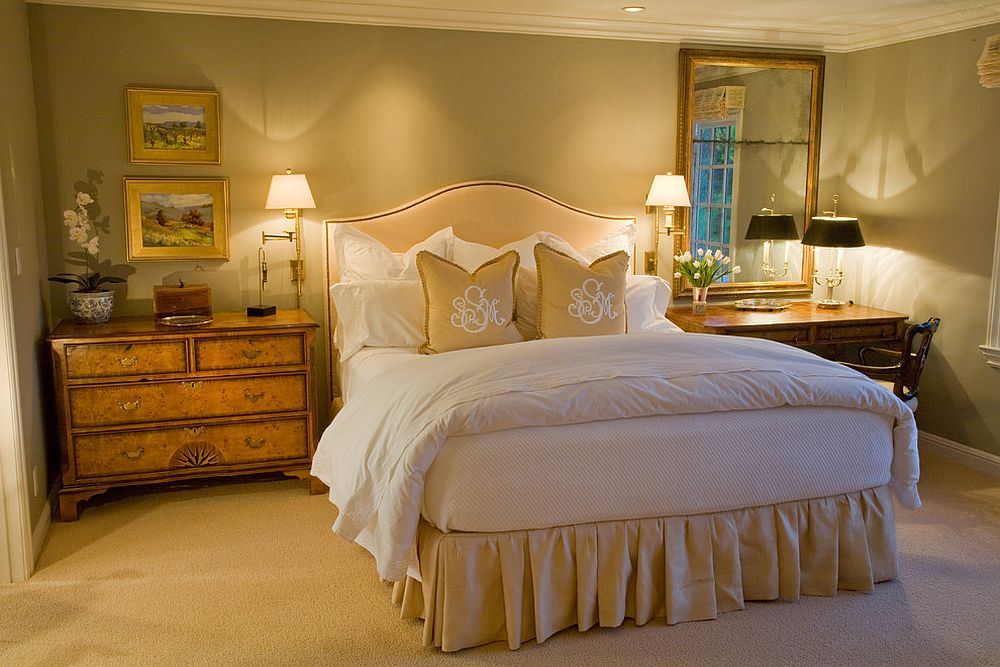 Shabby chic coupled with glittering Hollywood Regency vibe in the bedroom [Design: Kathleen Burke Design]
