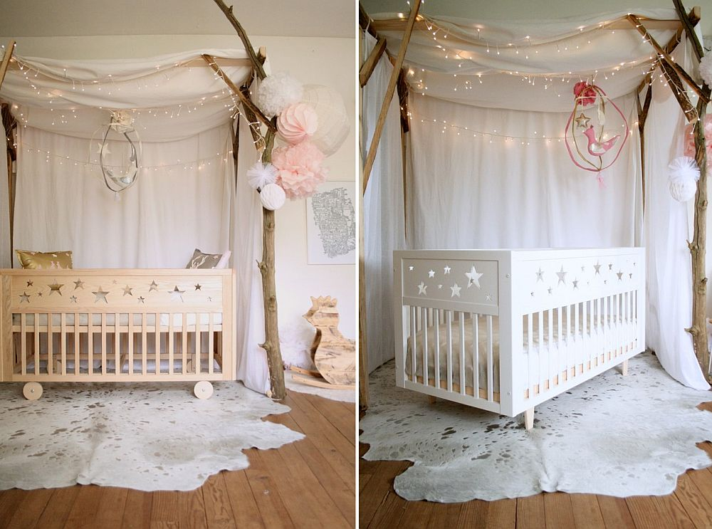 Shabby chic style nursery in white and pastel pink [From: Emilie Perez – Creme Anglaise]