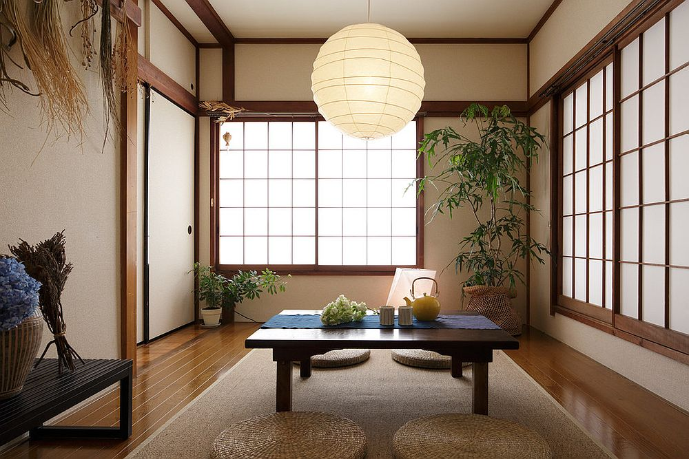Shoji screens, indoor plants and lantern lighting for the Asian style dining room