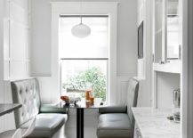 Simple booth style banquette makes smart use of space in the kitchen 217x155 Space Saving Design: 25 Banquettes with Built in Storage Underneath