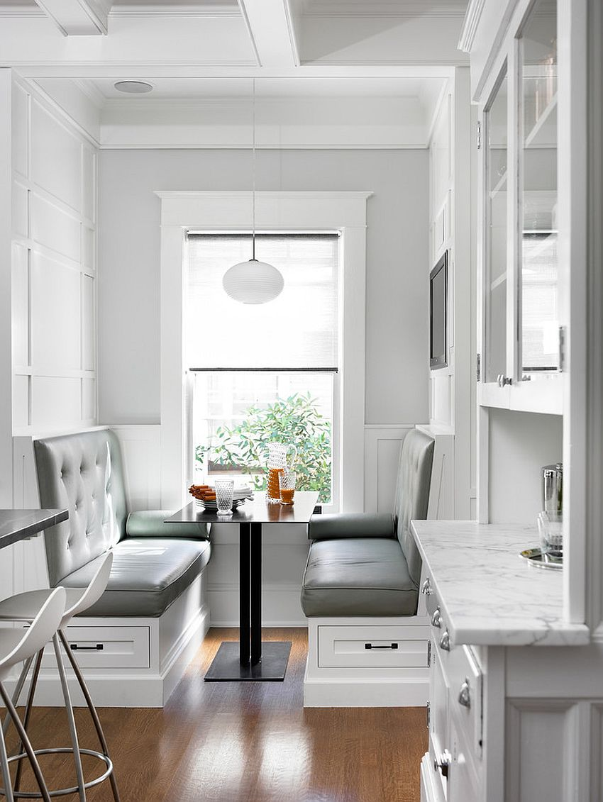 Simple booth style banquette makes smart use of space in the kitchen [Design: Peachtree Architects]