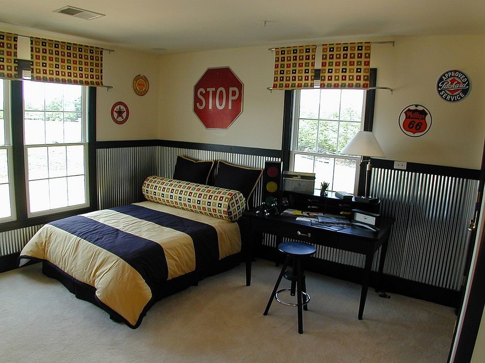 Simpler take on using street signs in the kids' bedroom [From: Laura Bendik Interiors]