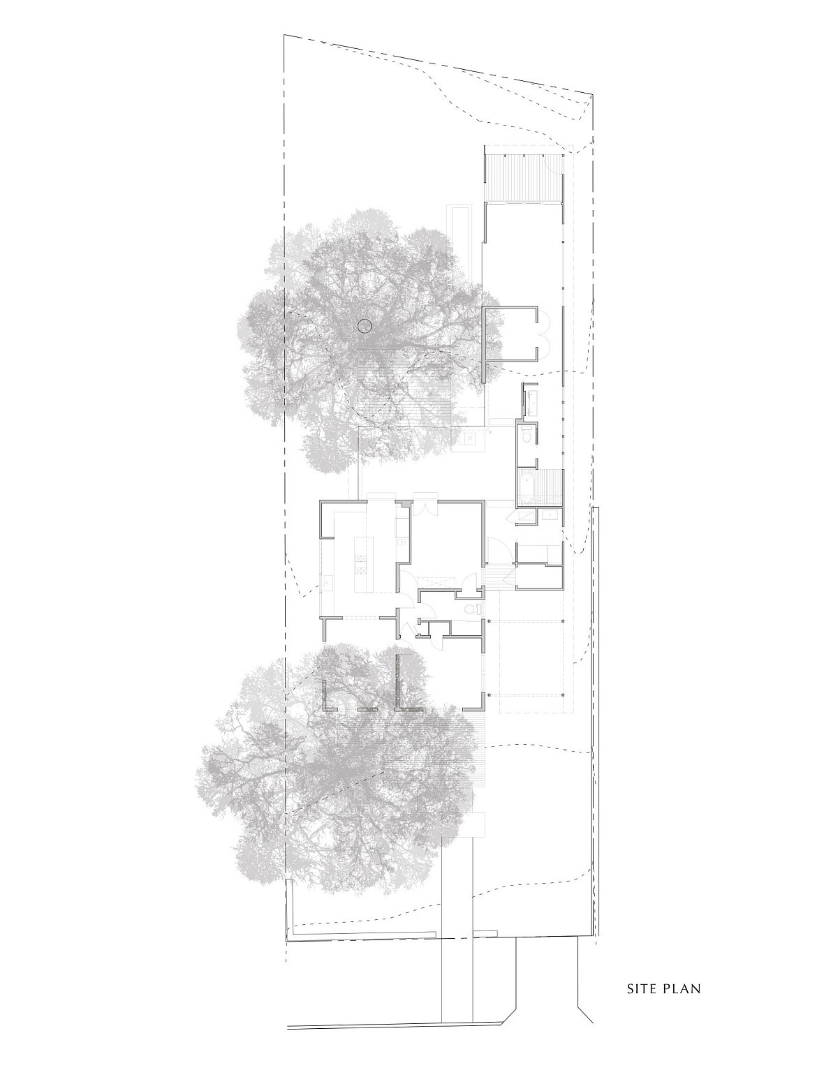 Siteplan of the revamped cottaege in Texas by Nick Deaver Architect