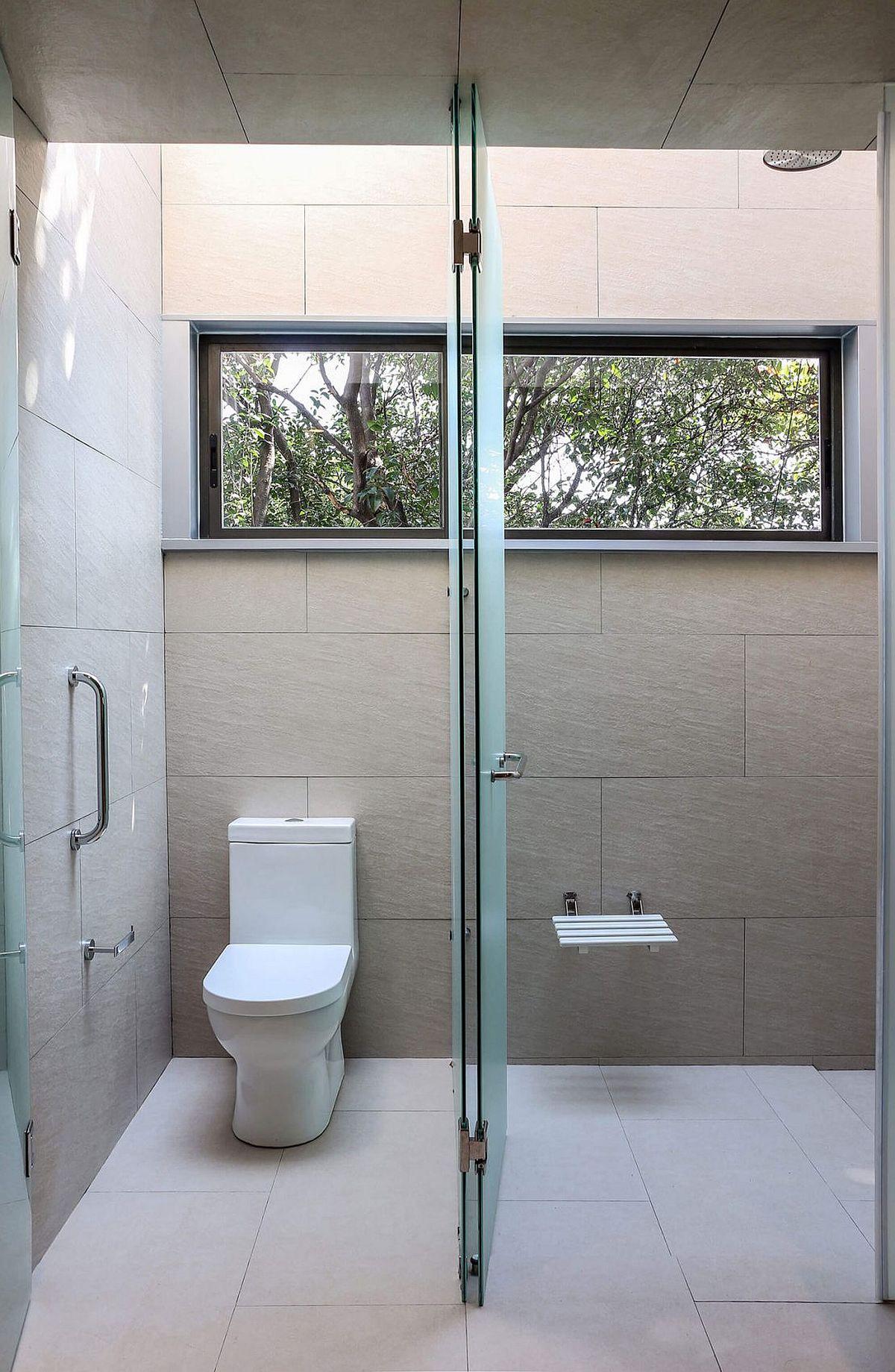 Skylight brings natural light into the modern bathroom