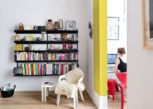 Sleek bookshelf with floating shelves that save space