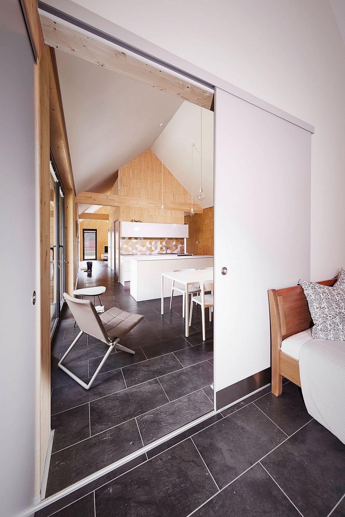 Sliding door separates living room from kitchen
