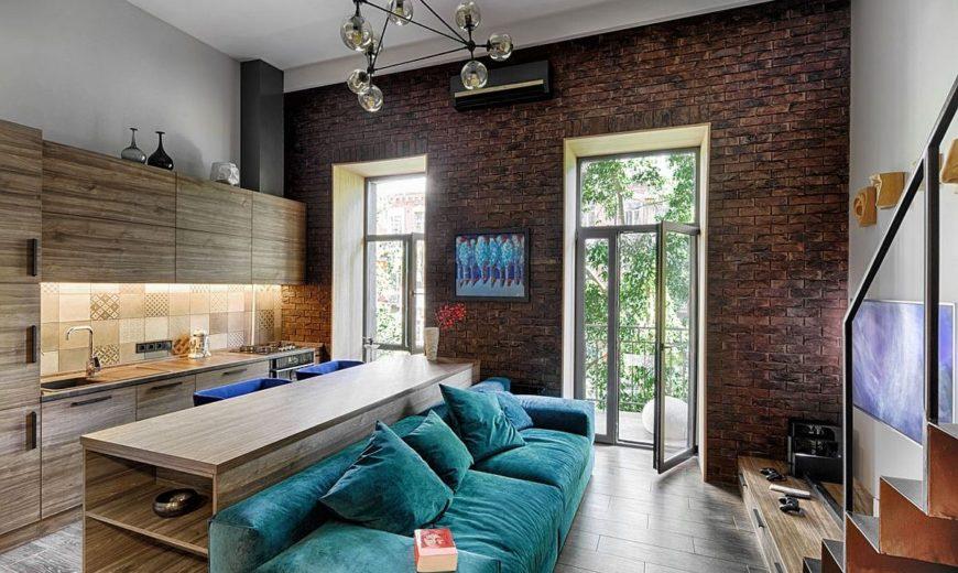 Mezzanine-Level Bedroom Adds Extra Space to Small Kiev Apartment