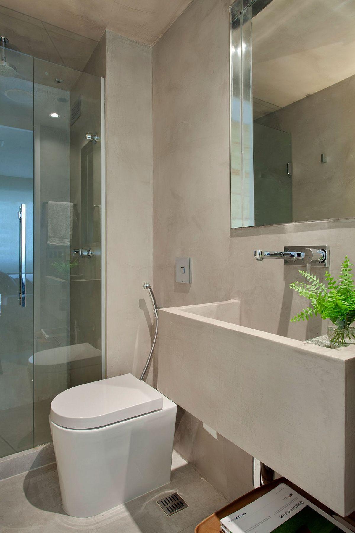 Small bathroom design with corner shower