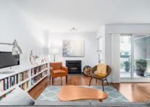 Small living room with wood burning fireplace of the Nicola Street apartment