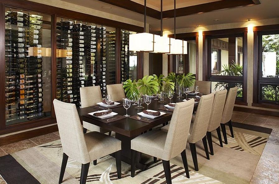 Smart Asian dining room with wine storage and tropical flair [Design: Willman Interiors / Gina Willman]