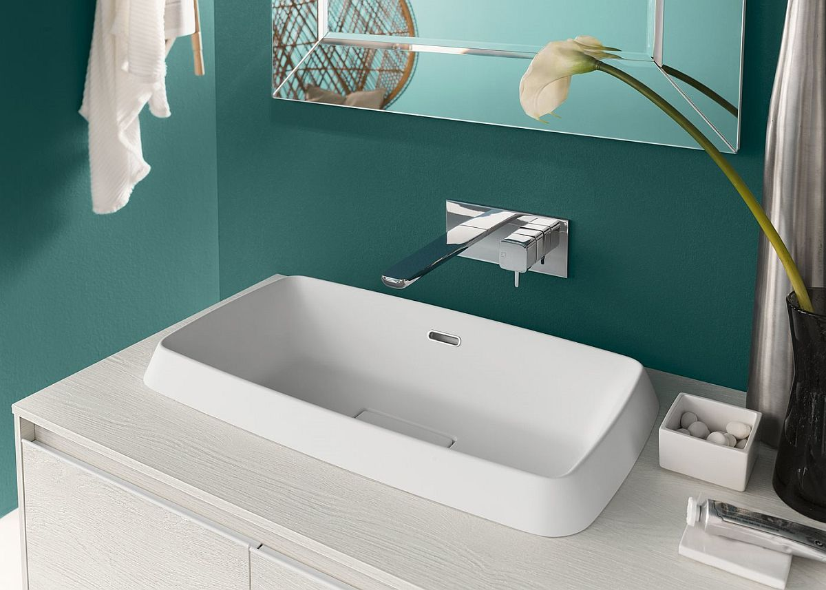 Smart sink and floating vanity brings modern modularity to the bathroom