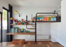 Space-saving kids' bedroom design with loft bed and ample toy storage space