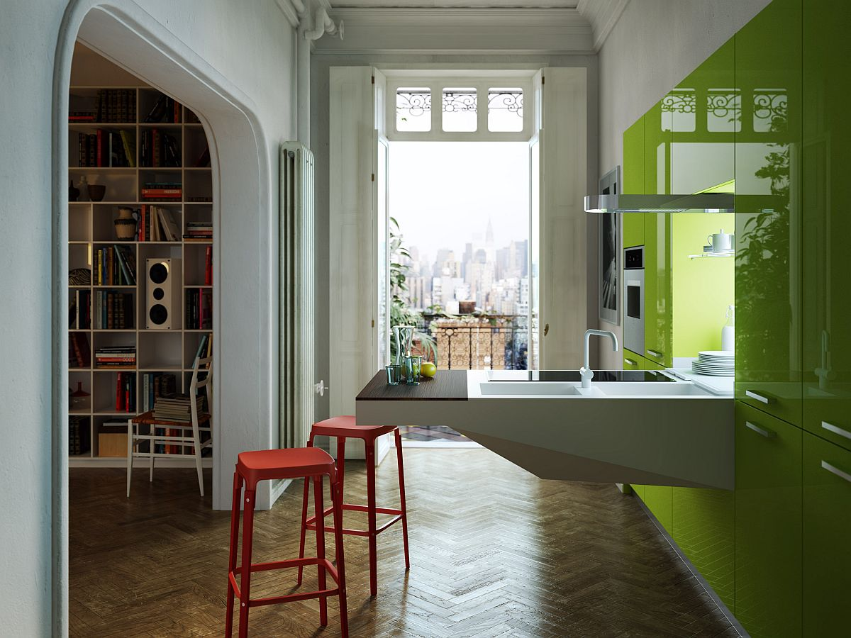 Space-savvy Board kitchen by Arosio