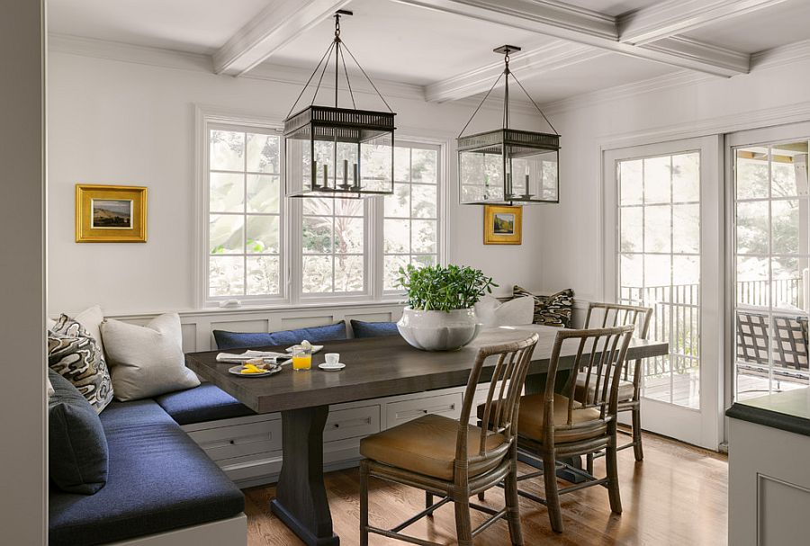 spacious traditional dining room with banquette seating from
